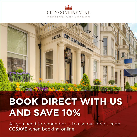 Book Direct with City Continental Kensington and Save Up To 10%